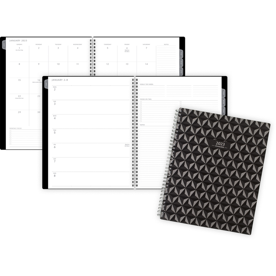 At-A-Glance Elevation Weekly/Monthly Planner - Large Size - Monthly, Weekly - 1 Year - January 2021 till December 2021 - White Sheet - Twin Wire - Black - Paper, Plastic, Poly - Black - Durable Cover, Sturdy, Bleed Resistant Paper, Dated Planning Page - 1