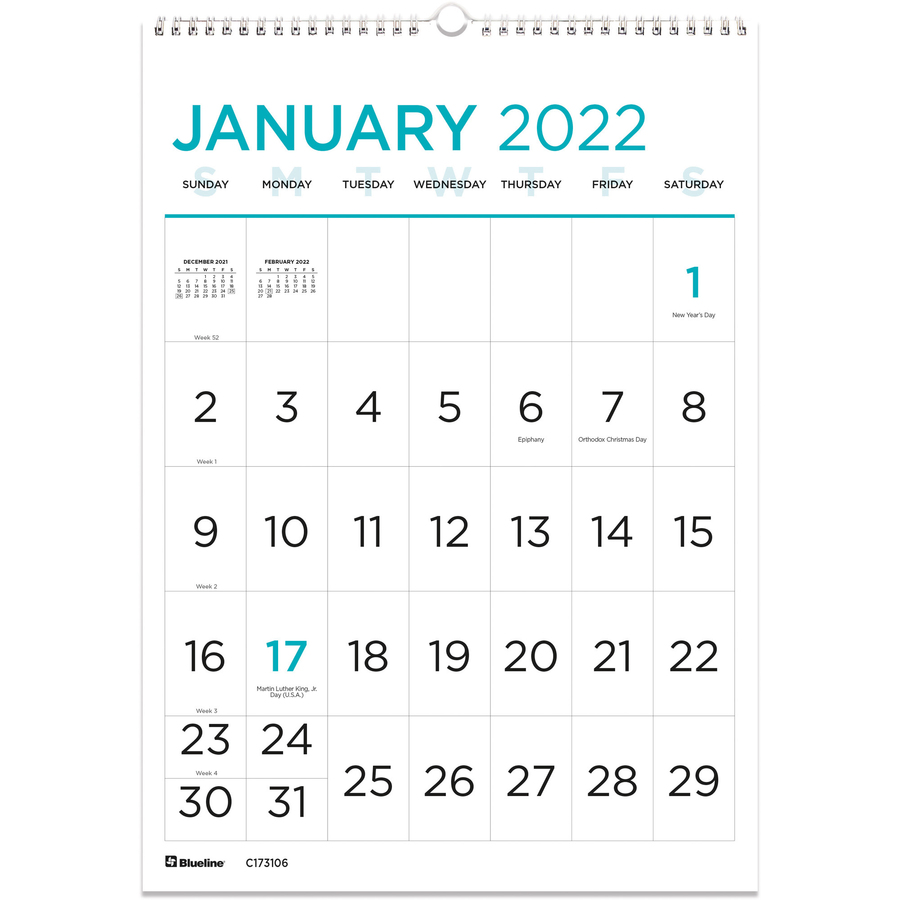 rediform large print wall calendar monthly 1 year january 2021 till december 2021 1 month single page layout twin wire light blue chipboard 17 january 2021 till december 2021