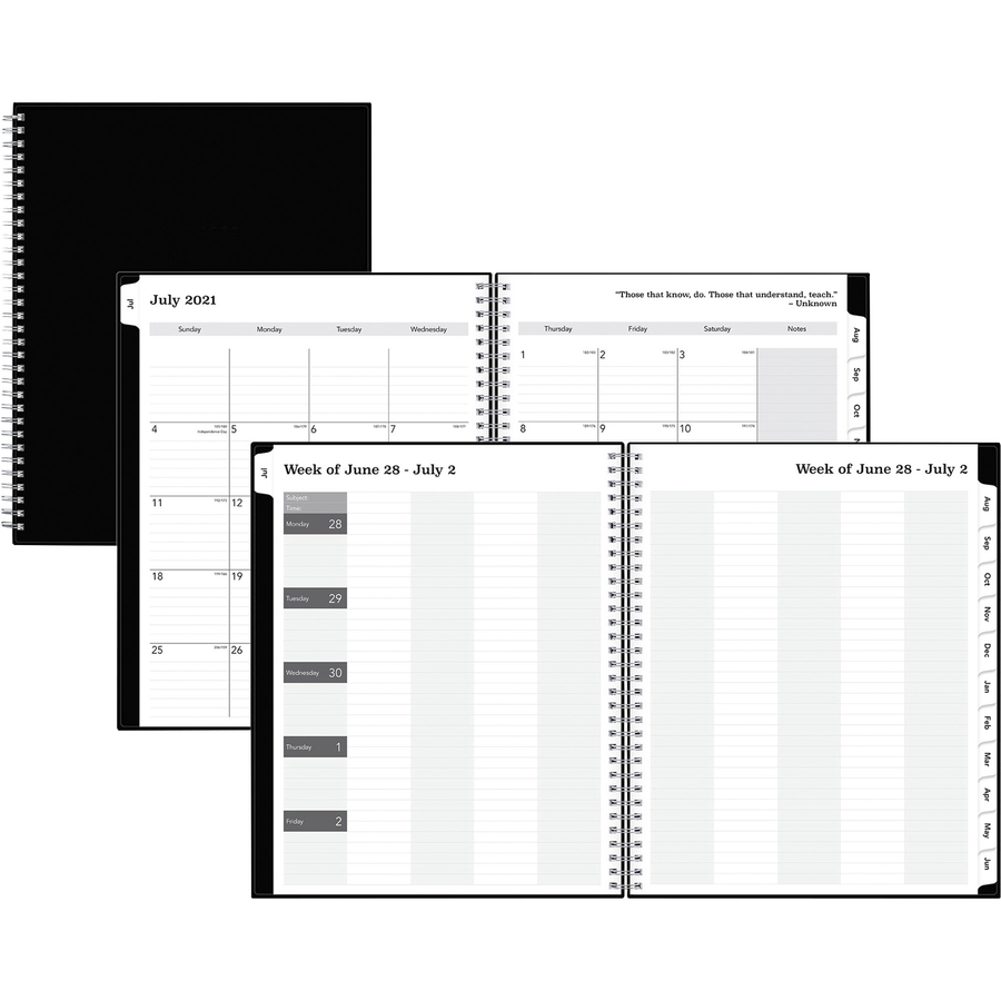 Blue Sky Academic Year Teachers Lesson Planner - Academic/Professional - Weekly, Monthly - 1 Year - July 2021 till June 2022 - 1 Week, 1 Month Double Page Layout - White Sheet - Paper - Black - 8.5