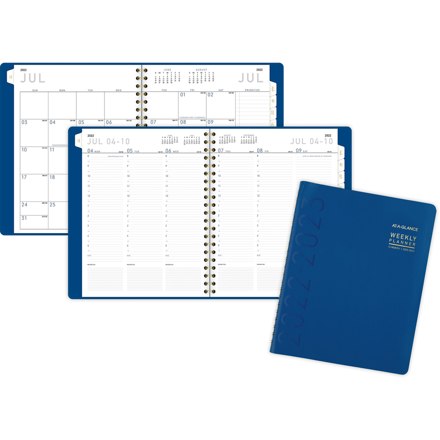 At-A-Glance Contempo Academic Planner - Small Size - Academic - Monthly, Weekly - 1 Year - July till June - 8:00 AM to 5:30 PM - Half-hourly - 1 Week, 1 Month Double Page Layout - Twin Wire - Blue, Black - Paper, Poly - Gold - 8.3