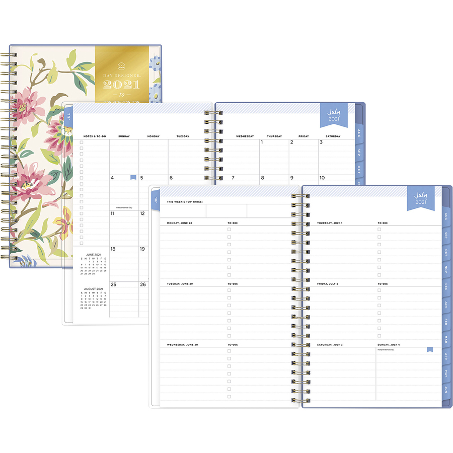 Day Designer Climb Floral Blush CYO Academic Planner - Academic - Monthly, Weekly - 1 Year - July 2021 till June 2022 - 1 Week, 1 Month Double Page Layout - White Sheet - Twin Wire - Multi, Clear - Paper - 8