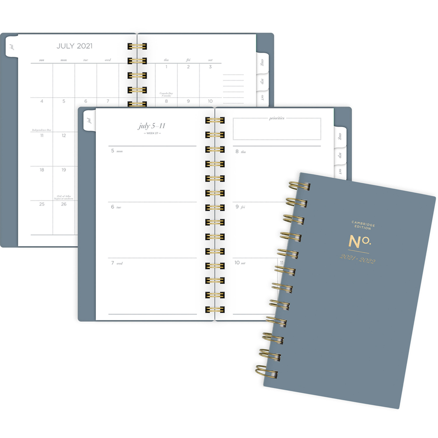 At-A-Glance WorkStyle 4x6 Academic Planner - Pocket Size - Academic - Weekly, Monthly - 1 Year - July till June - 1 Week, 1 Month Double Page Layout - Twin Wire - Gold - Gray, Gold - 3.5