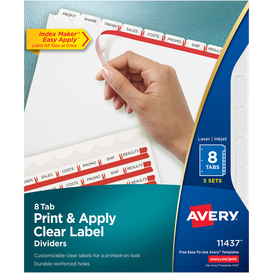 Avery® Index Maker Print & Apply Clear Label Dividers with White Tabs - 8  Tab(s)/Set - 8 5 Divider Width x 11 Divider Length - Letter - 3 Hole