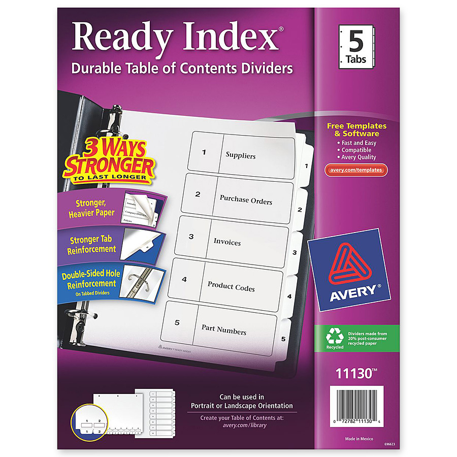 Avery 11130 Avery Classic Ready Index Table Of Contents Divider