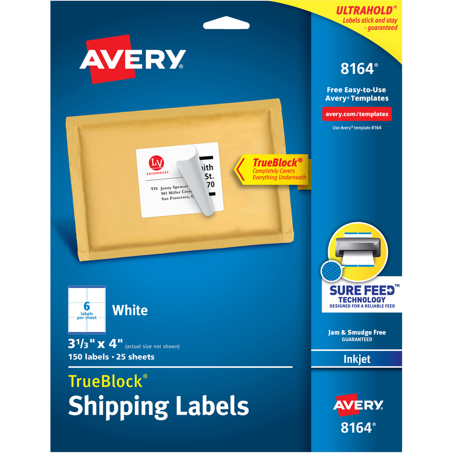 Avery white mailing labels ave8164 for Avery templated