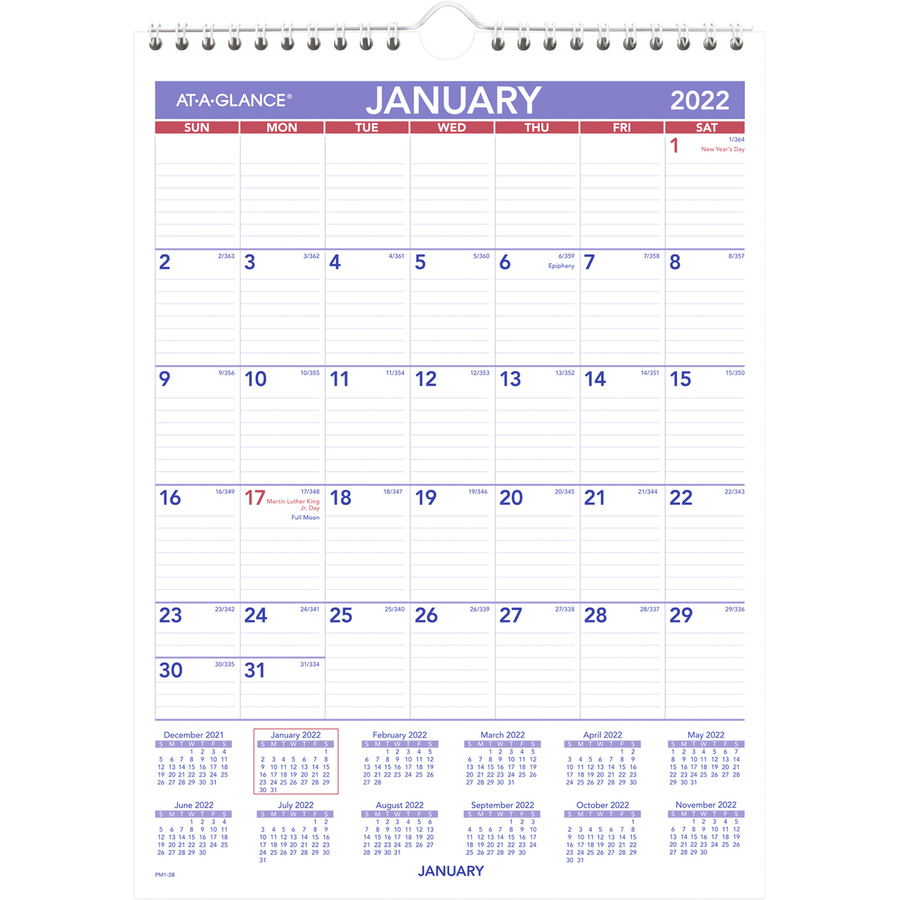 Month At A Glance Calendar 2020 At A Glance PM1 28, At A Glance Wall Calendar with Hanger