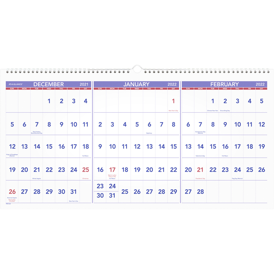 At A Glance 3 Month Horizontal Wall Calendar Yes Quarterly 1 2