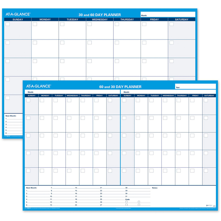 at a glance 30 60 day undated horizontal wall planner servmart