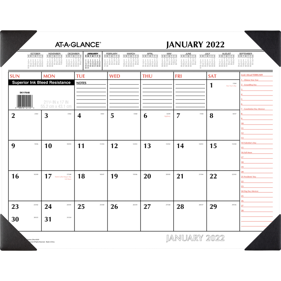 At-A-Glance Monthly Desk Pad - Yes - Monthly - 1 Year - January 2020 till December 2020 - 1 Month Single Page Layout - 22