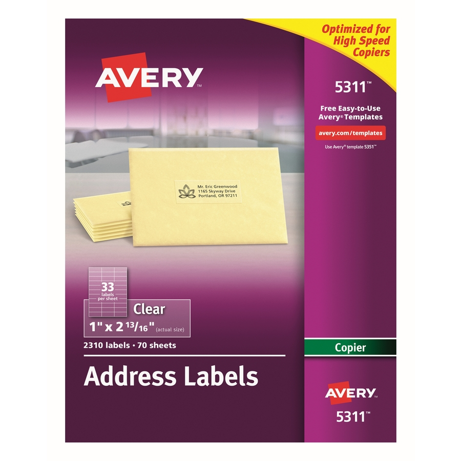 Custom Card Template avery address label template : Avery Clear Mailing Label
