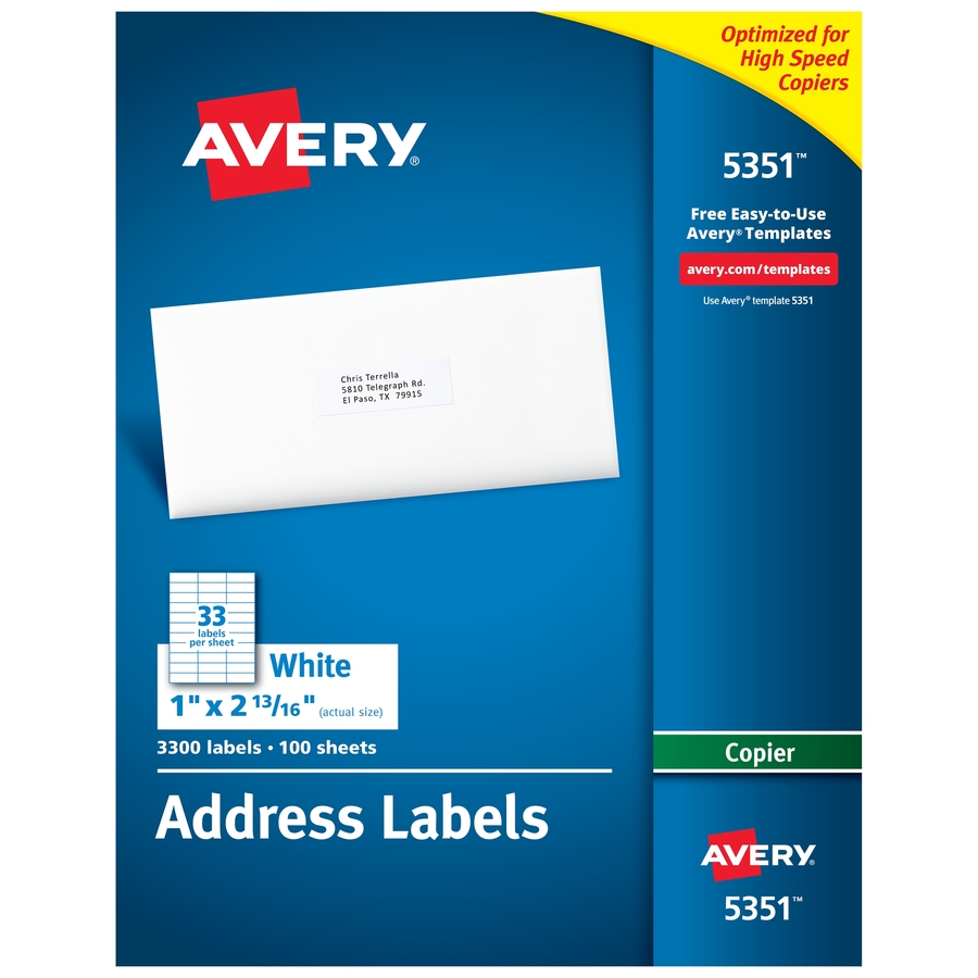 Discount Ave5351 Avery 5351 Avery Mailing Labels For Copiers Address