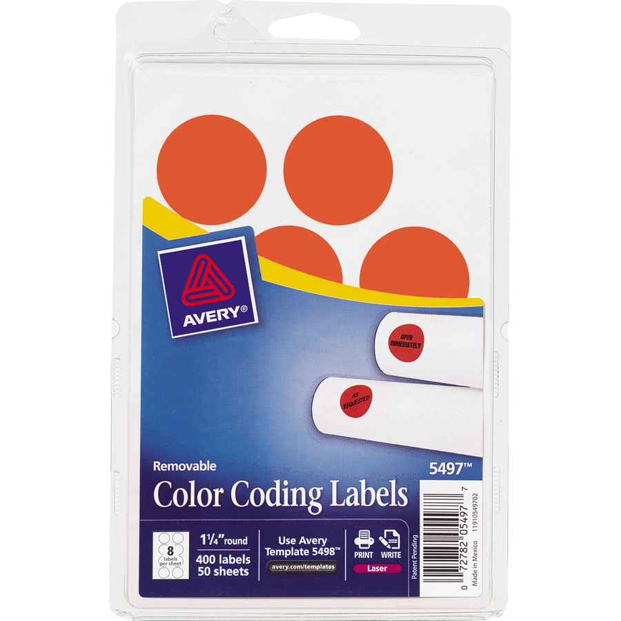 Discount AVE05497 Avery 2020RG 1 4 Round Color Coding
