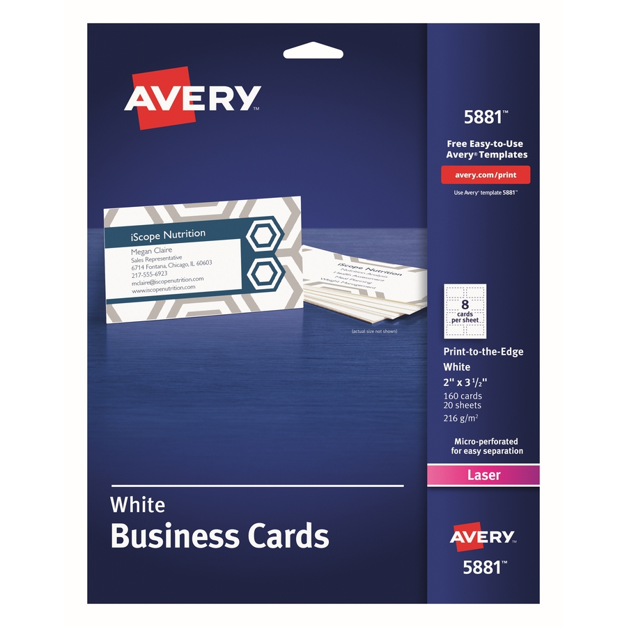 Avery Business Cards Print To The Edge Uncoated Two Sided Printing 2 X 3 1 2 160 Cards 5881 2 X 3 1 2 160 Pack White
