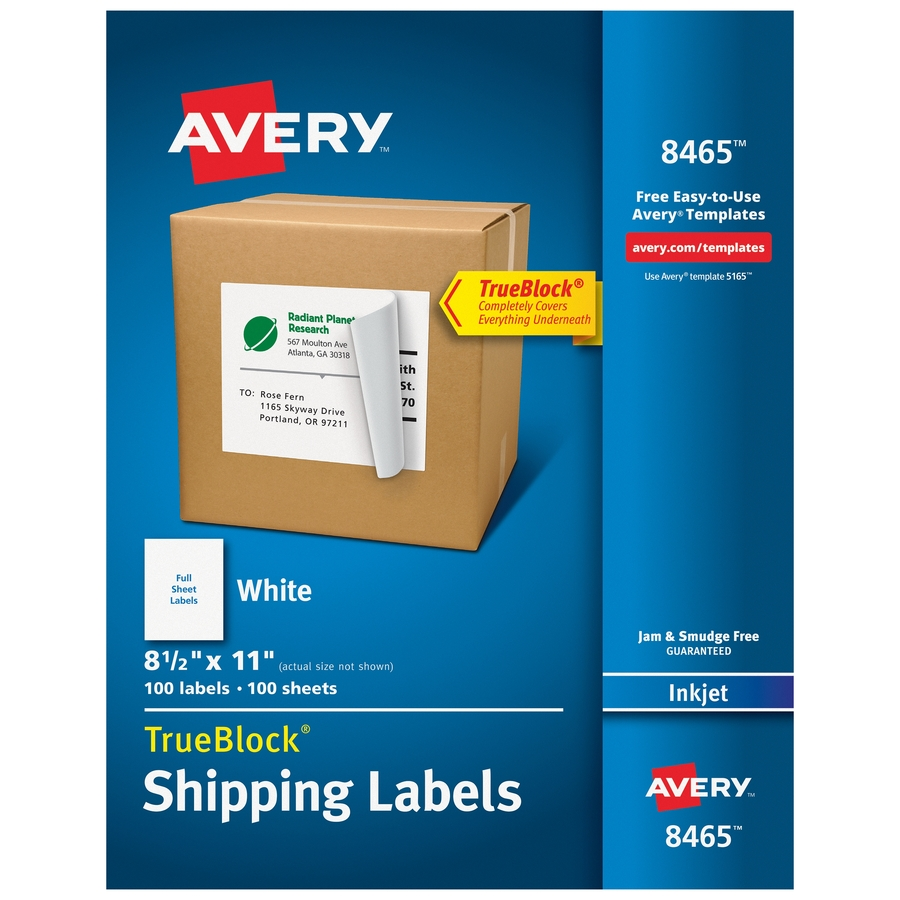 Avery Shipping Labels Trueblock R Technology Permanent