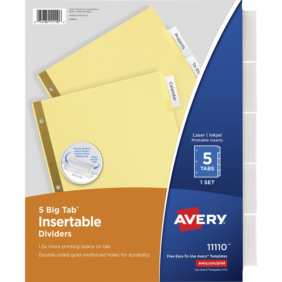 Avery Big Tab Buff Colored Insertable Dividers Gold Reinforced 5 Blank Tab S 5 Tab S Set 8 5 Divider Width X 11 Divider Length Letter