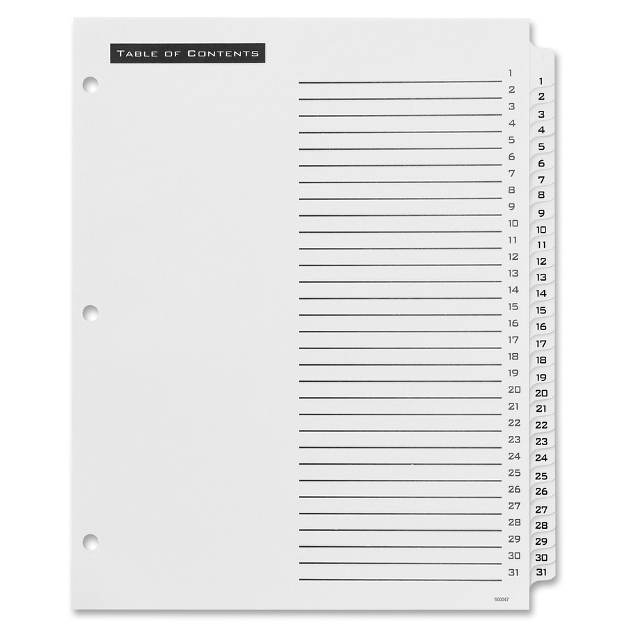 Avery office essentials table 39 n tabs dividers for Avery table of contents template 15 tab