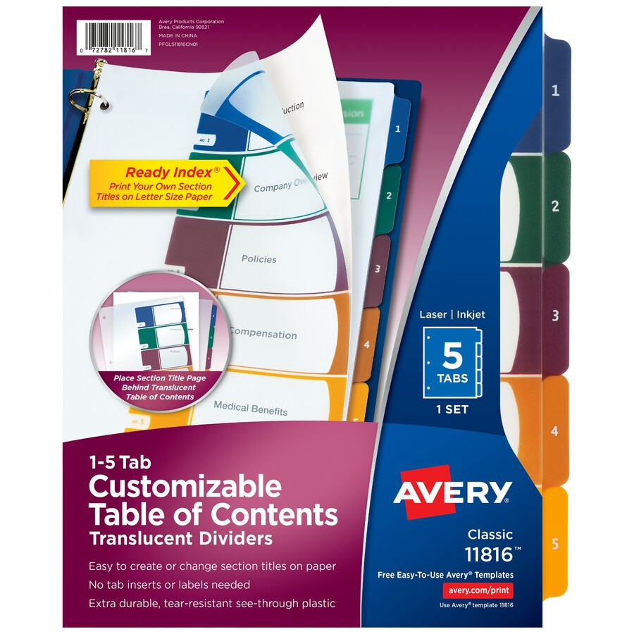 Avery 11816 Avery Ready Index Translucent Table Of Content Dividers