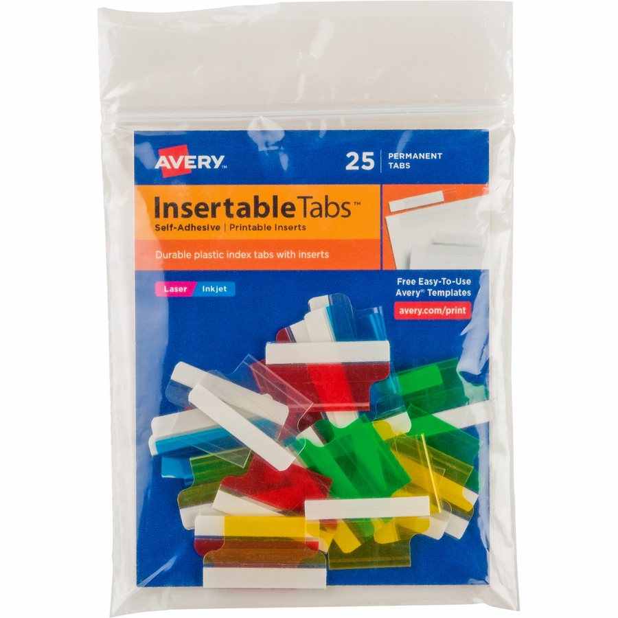 graphic relating to Printable Self Adhesive Tabs named Avery® Index Tabs with Printable Inserts - Print-upon Tab(s