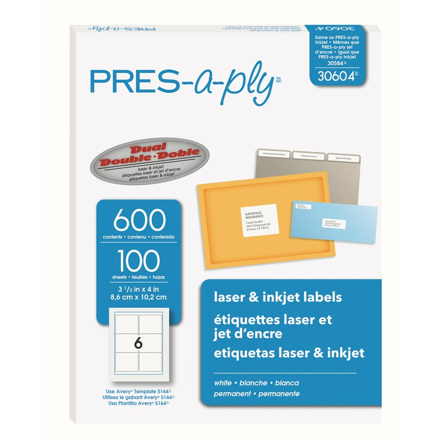 Avery 30604, Avery Pres-A-Ply Standard Shipping Label, AVE30604, AVE ...