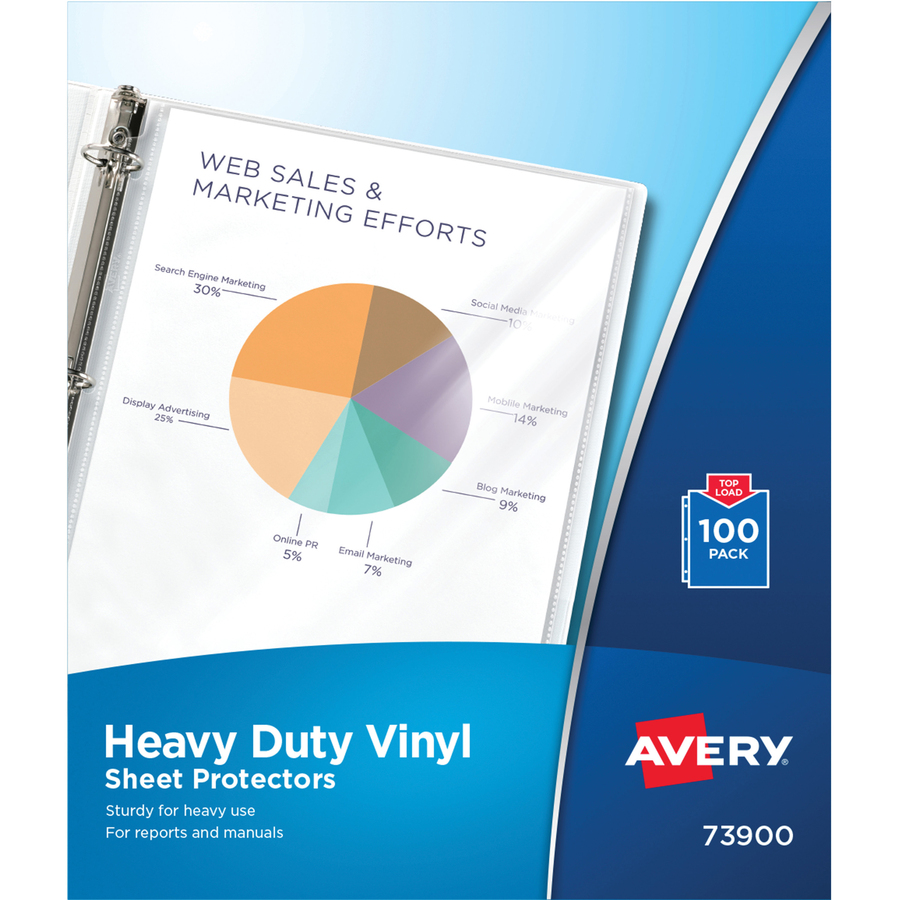 image about Avery Printable Vinyl referred to as Avery® Major Responsibility Vinyl Sheet Protectors - 100 x Sheet Capability - For Letter 8 1/2\