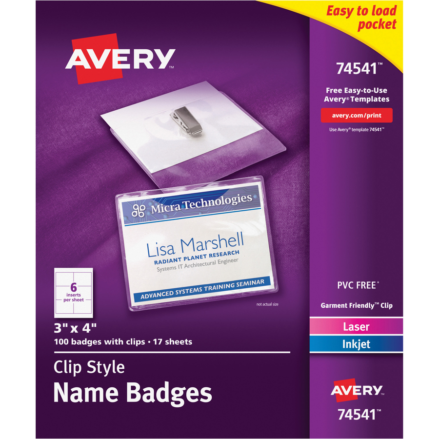 Avery Avery CCC LaserInkjet Clip Style Name Tag Kit - Avery vertical name badge template