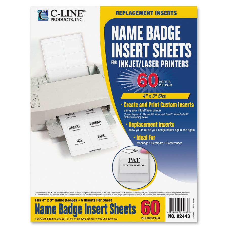 C-Line Replacement Name Badge Insert Sheets for Laser/Inkjet