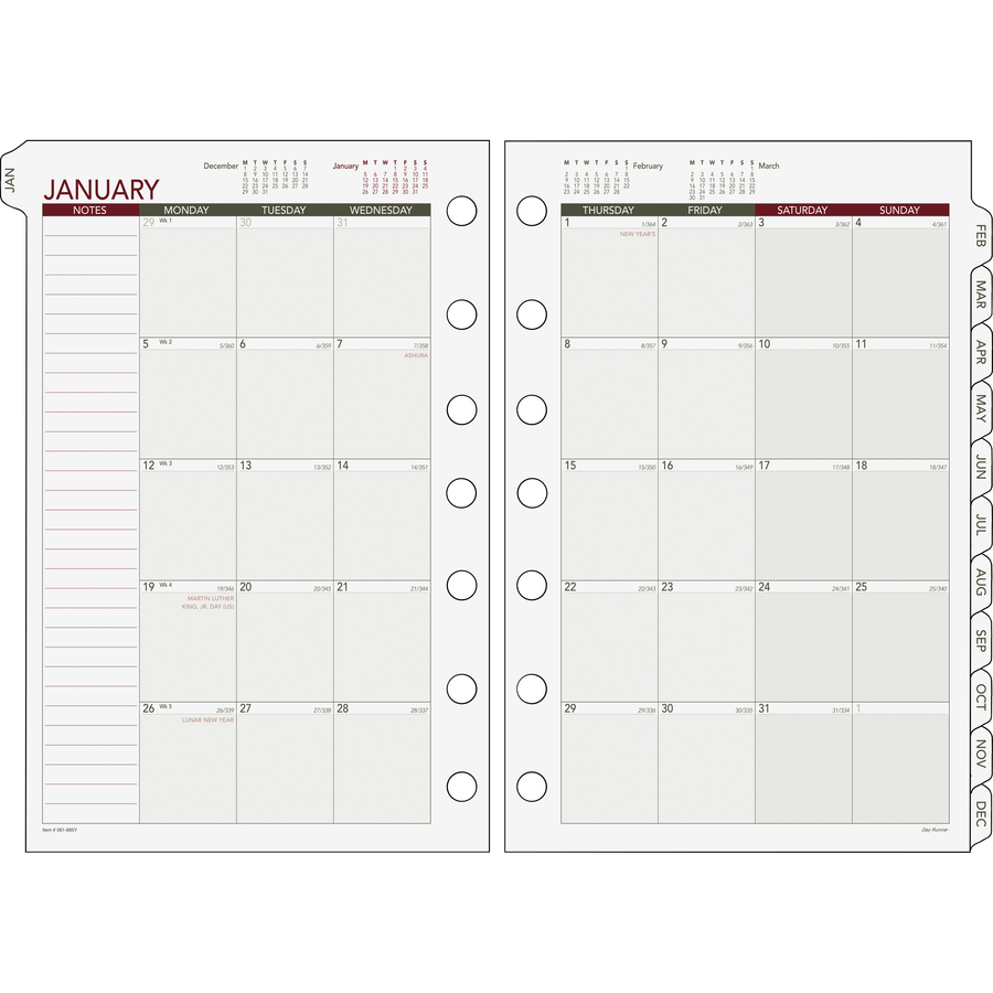 Monthly Calendar Refills : Day runner loose leaf monthly planner refills drn y