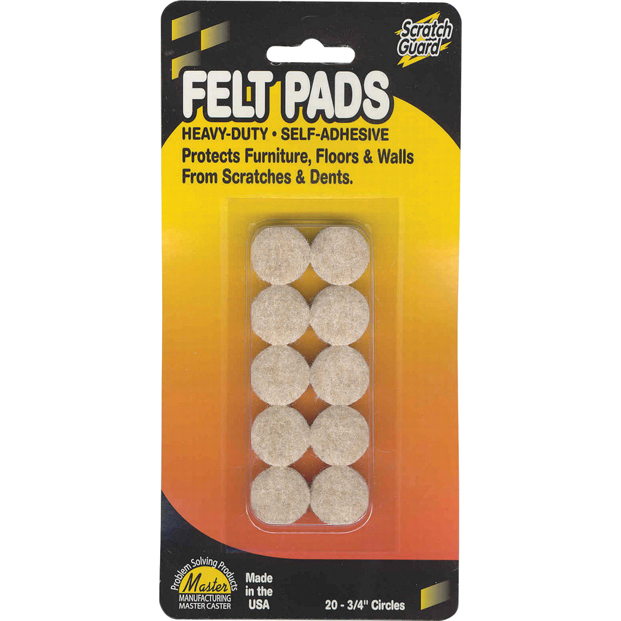 Master Mfg  Co Scratch Guard® Felt Circles, Self-adhesive - Polyester Felt,  3/16