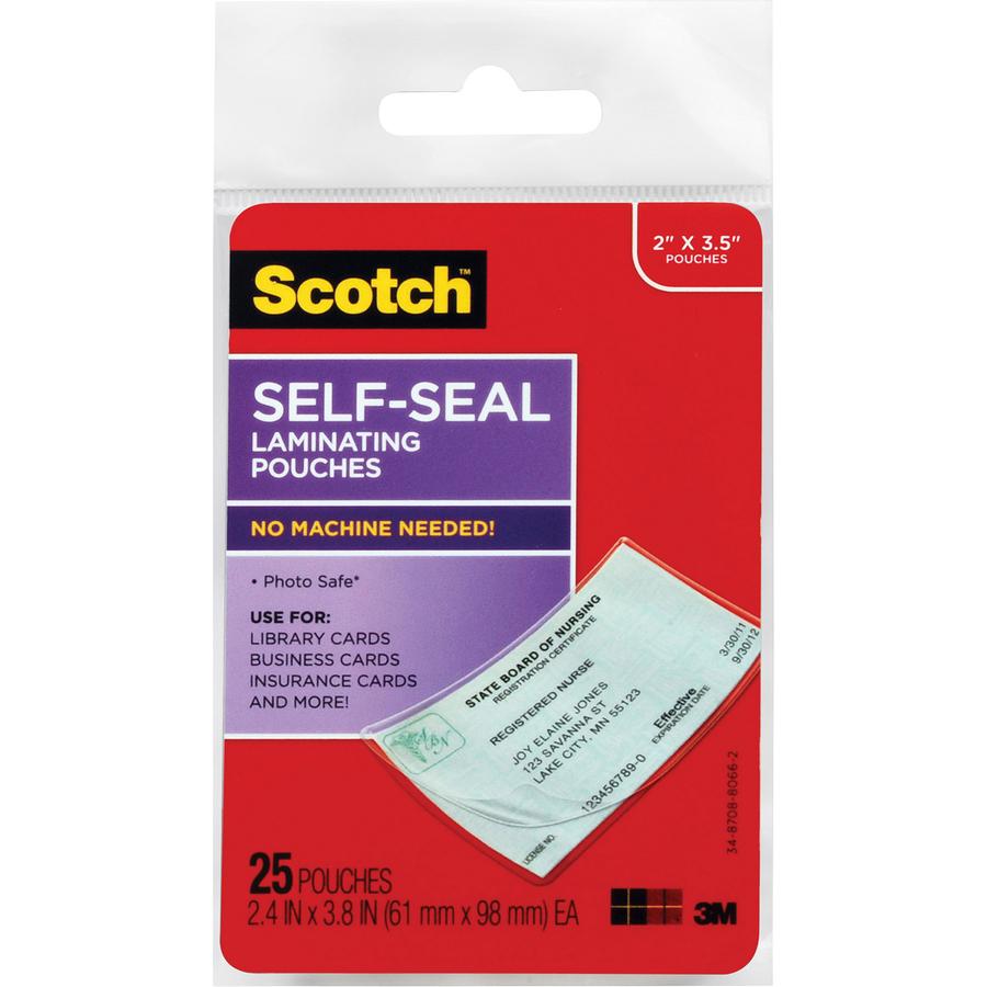 3M LS851G, 3M Scotch Self-sealing Laminating Business Card Pouches ...
