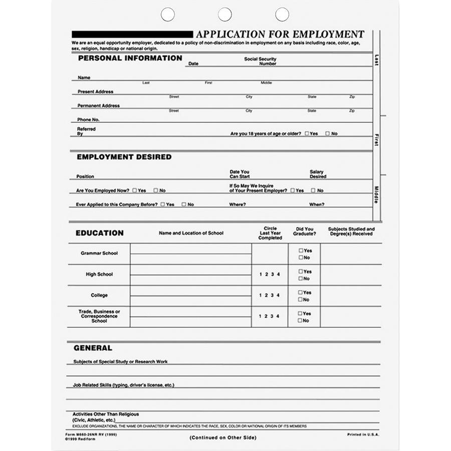 Rediform Applications For Employment 50 Sheet S