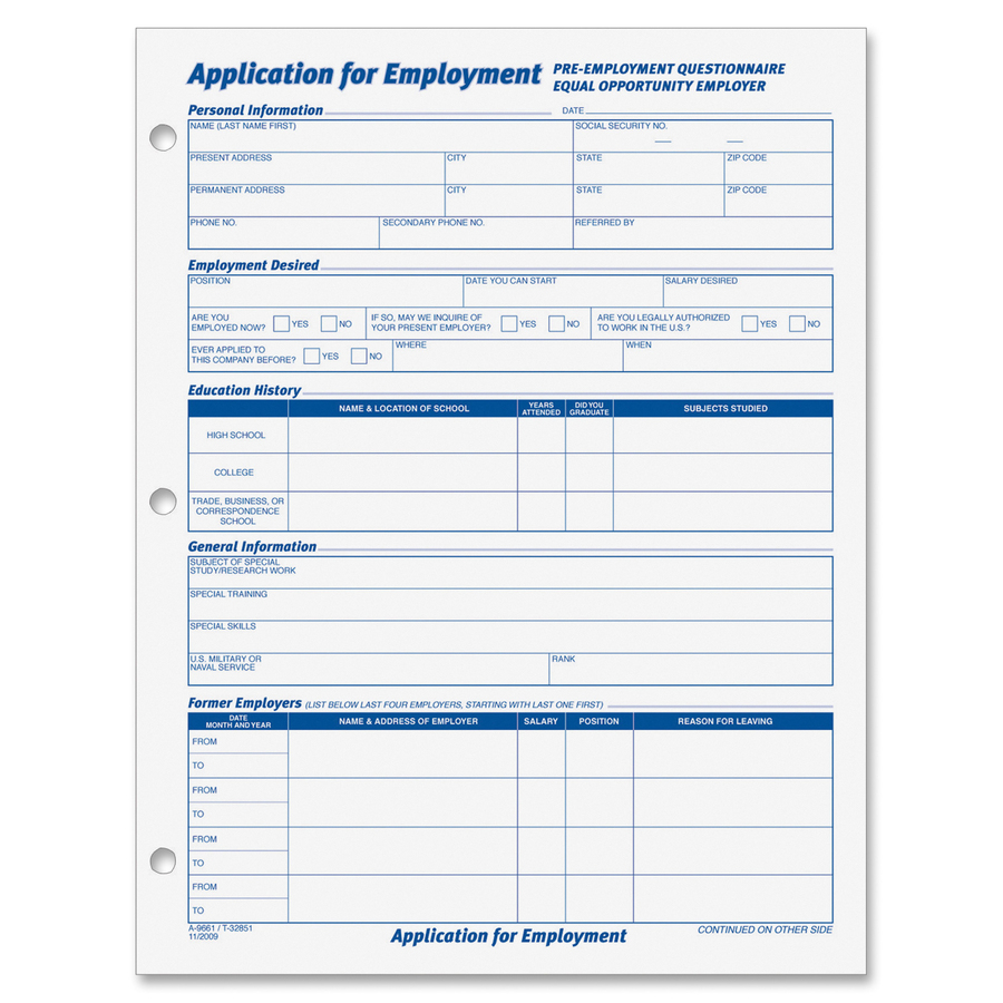 Tops 32851 tops employment application form top32851 top 32851 tops employment application forms 50 sheets gummed 8 12 x 11 sheet size white sheets black print color 2 pack thecheapjerseys Gallery