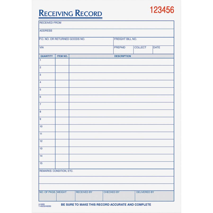 tops 46260 tops receiving record form top46260 top 46260 office