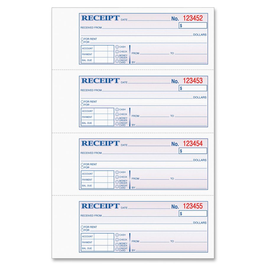 graphic about Printable Receipt Book named TOPS Fiscal/Lease Receipt Ebook - 3 Component - Carbonless Replica - 2 3/4\