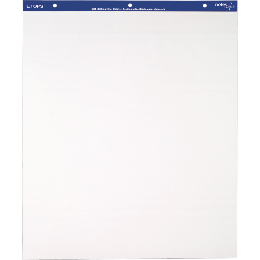 TOPS Self-stick Note Plus Easel Pad - 30 Sheets - Plain