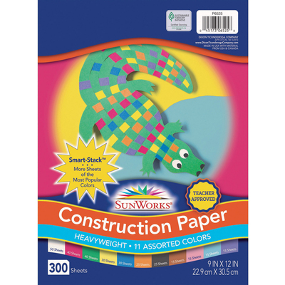 11 Assorted Colors 300 Sheets 9 x 12 SunWorks Smart-Stack Construction Paper