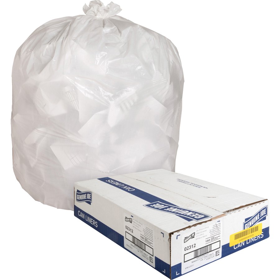 Genuine Joe Heavy Duty Tall Kitchen Trash Bags Small Size 13 Gal 24 Width X 33 Length X 0 85 Mil 22 Micron Thickness Low Density White