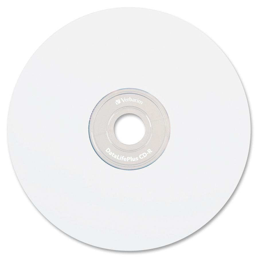 photograph regarding Verbatim Cd R Printable called Verbatim CD-R 700MB 52X DataLifePlus White Inkjet Printable