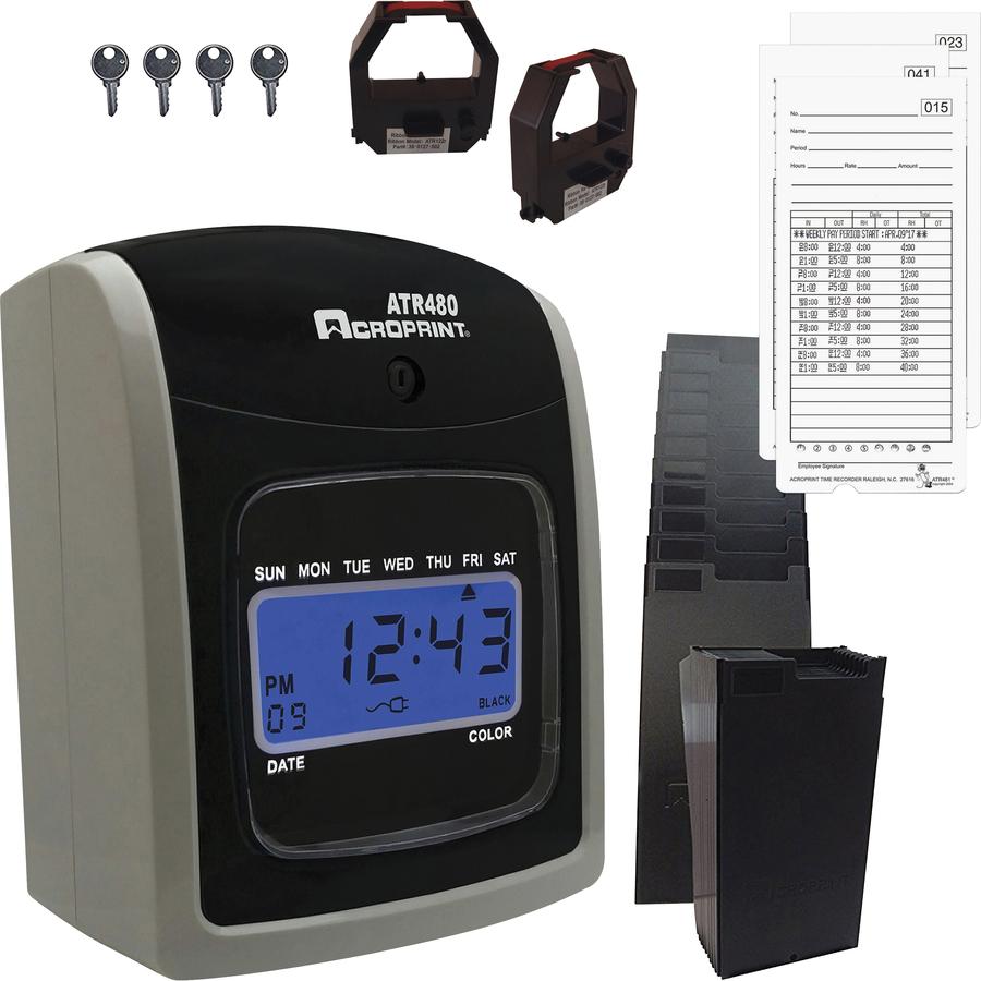 Acroprint ATR480 Totalizing Time Clock Bundle - Biometric - 50 Employees -  Digital