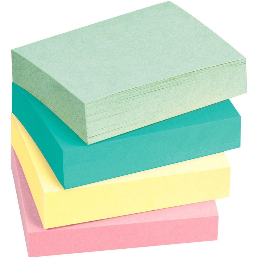 """12 Pads 1-1//2/"""" x 2/"""" Business Source Adhesive Notes Assorted Pastel BSN16500"""