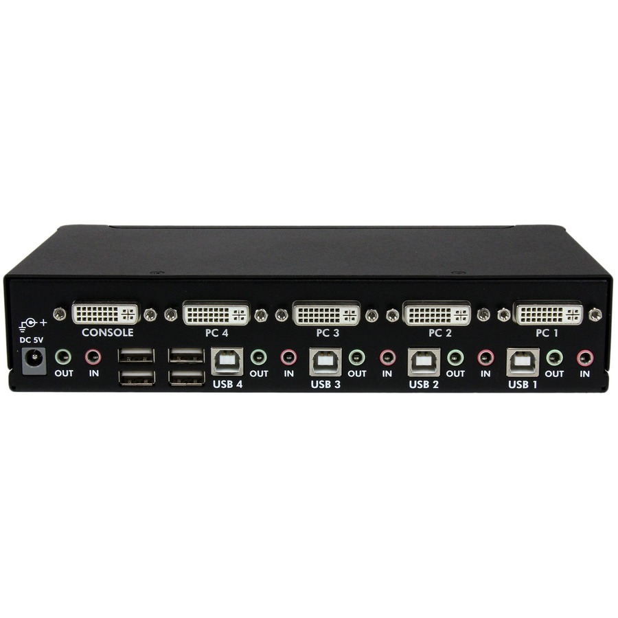 StarTech.com 4 Port High Resolution USB DVI Dual Link KVM Switch with Audio - 4 Port - Rack-mountable