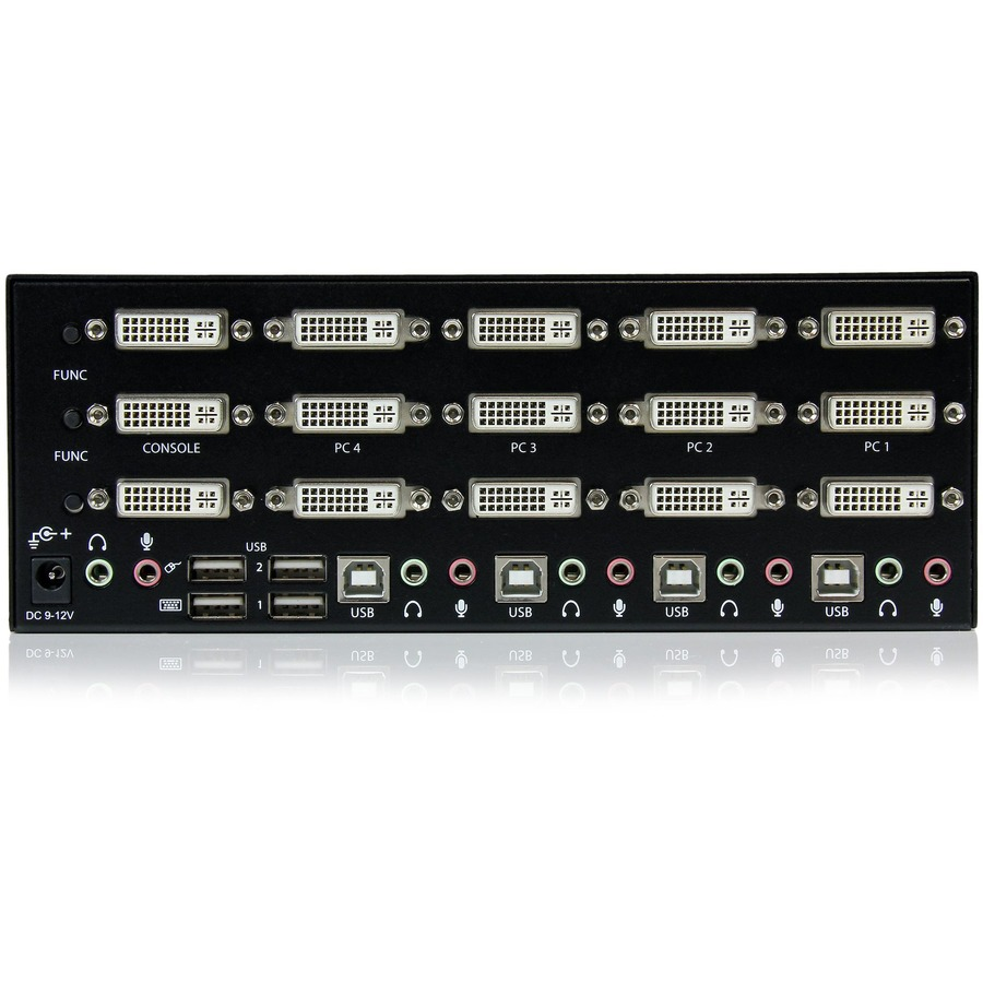 StarTech.com 4 Port Triple Monitor DVI USB KVM Switch with Audio And USB 2.0 Hub - 4 Port - Rack-mountable
