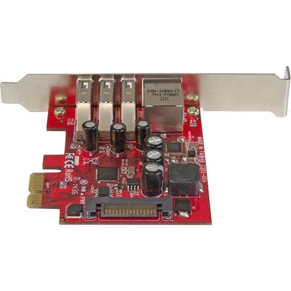 StarTech.com 3 Port PCI Express USB 3.0 Card plus Gigabit Ethernet - 3 Total USB Ports