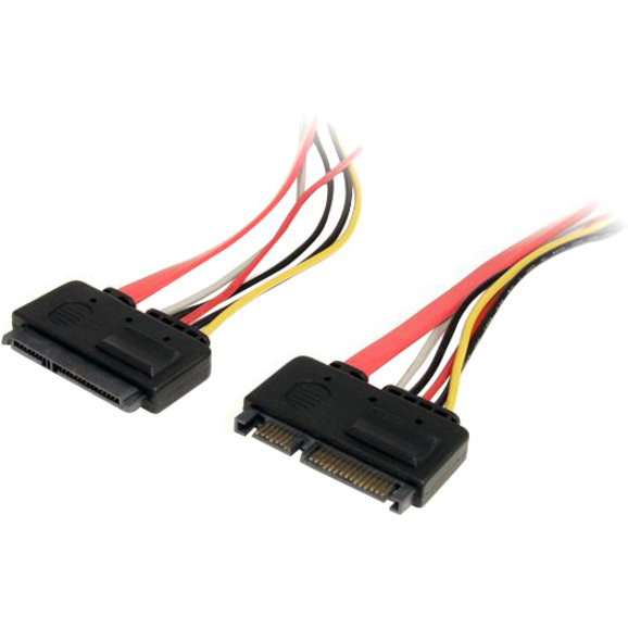 StarTech.com 12in 22 Pin SATA Power and Data Extension Cable - SATA for Hard Drive - 12.01 - 1 Pack - 1 x Male SATA