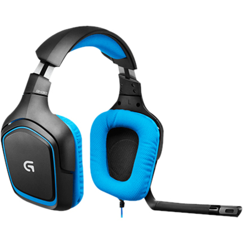 Logitech G430 Wired 40 mm Headset - Over-the-head - Circumaural - Black, Blue - 32 Ohm - 20 Hz - 20 kHz - 3 m Cable - USB