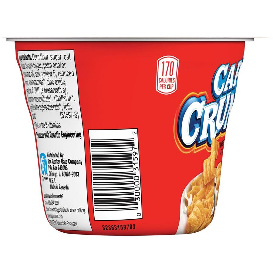 Quaker Oats Cap'N Crunch Corn/Oat Cereal Bowl - Corn, Oat - Bowl - 1 51 oz  - 12 / Carton