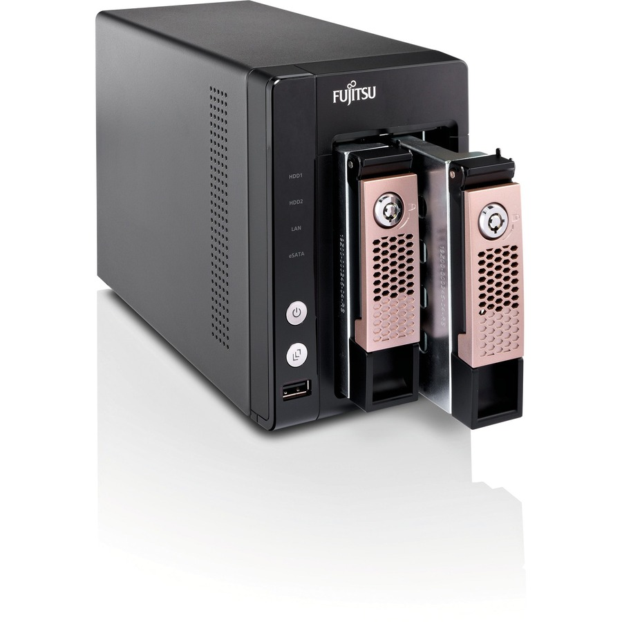 Fujitsu CELVIN Q703 2 x Total Bays NAS Server - External - Marvell2 GHz - 2 TB HDD - 1 GB RAM DDR3 SDRAM - Serial ATA/300 - RAID Supported 0, 1, JBOD - 2 x 2.5inch/3.5inch