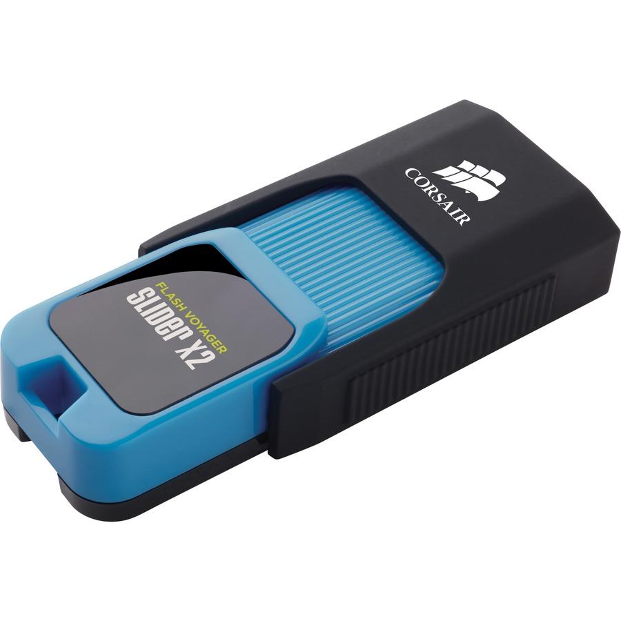 Corsair Flash Voyager Slider X2 128 GB USB 3.0 Flash Drive - Blue