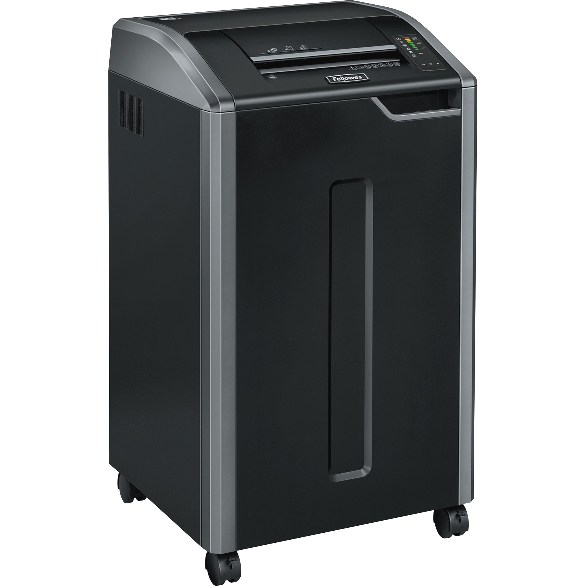 """<p>Achieve hassle-free shredding with Powershred 425Ci Cross-Cut Commercial Shredder. It can shred up to 30 sheets of paper per pass into 503 (5/32"""" x 1-1/8"""" Security Level P-4) cross-cut particles. This TAA-Compliant machine also safely shreds CDs/DVDs, credit cards, staples, paper clips and junk mail. Get three levels of advanced jam prevention with Fellowes 100 percent Jam Proof System that eliminates paper jams, powers through tough jobs and maximizes productivity. Auto-Oil Technology takes the guesswork out of maintaining your shredder by automatically oiling the cutters at regular intervals. Patented SafeSense Technology is designed with an electronic safety sensor that automatically disables the shredder when hands touch the paper opening. The Energy Savings System provides optimal energy efficiency 100 percent of the time. With the ability to shred continuously, the 425Ci is ideal for departmental use and includes a high-volume, 30-gallon removable basket.</p>"""