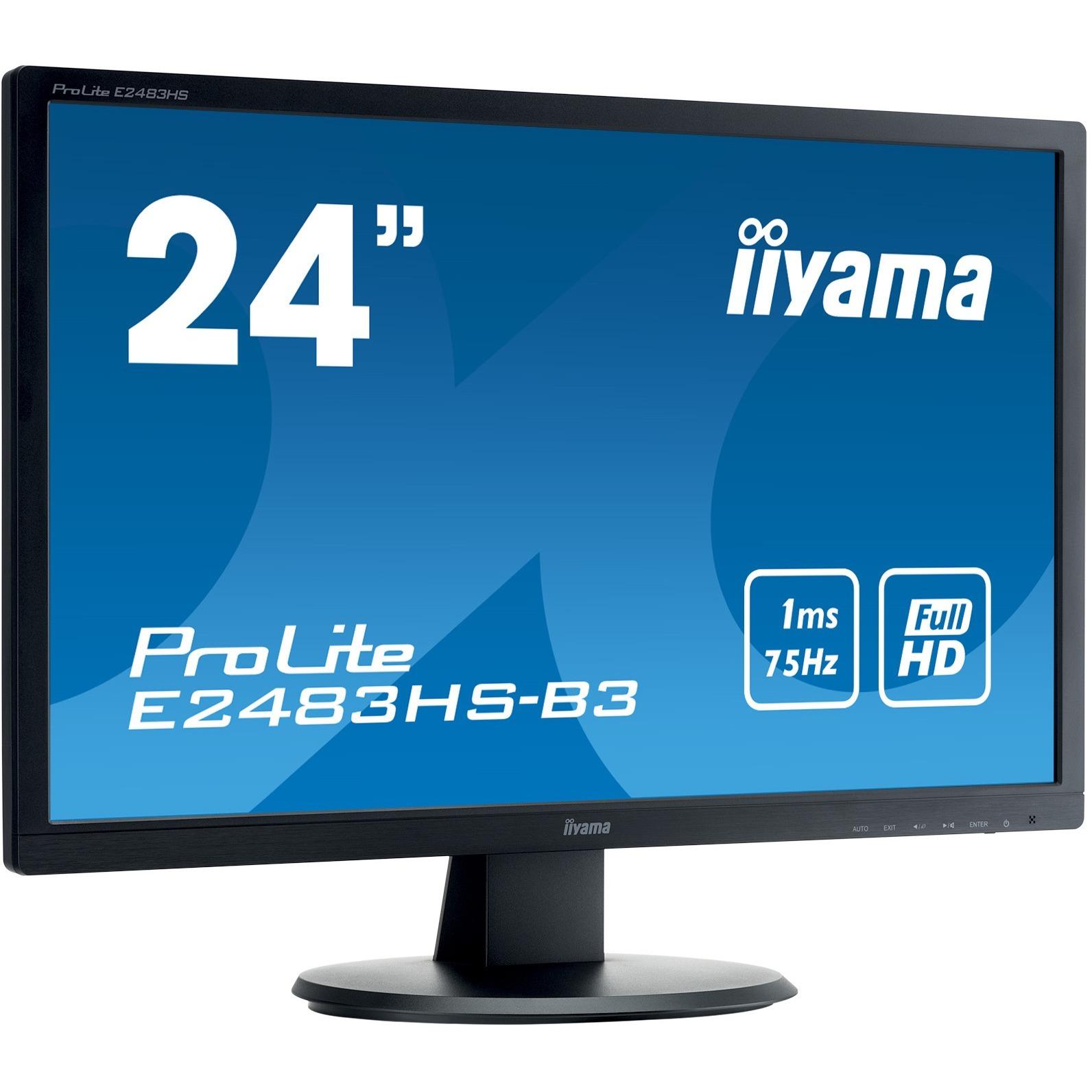 Iiyama Prolite E2483hs B3 24inch Wled Lcd Monitor 16 9 1 Ms