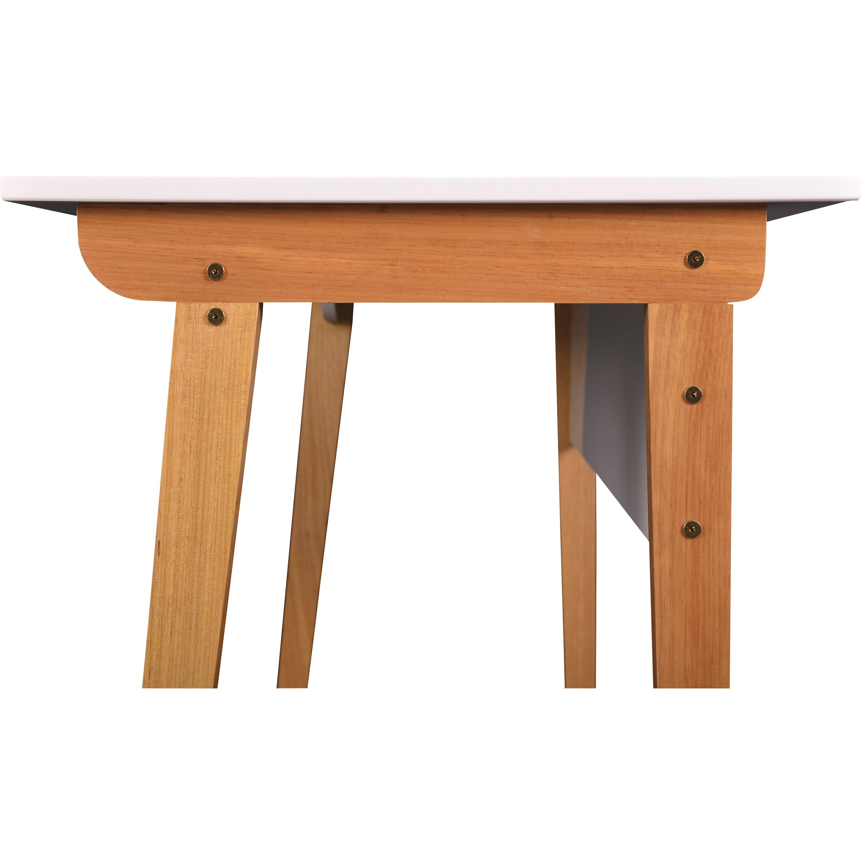 Lorell Mid Century Modern Office Desk White Rectangle Top Natural Four Leg Base 4 Legs 23 50